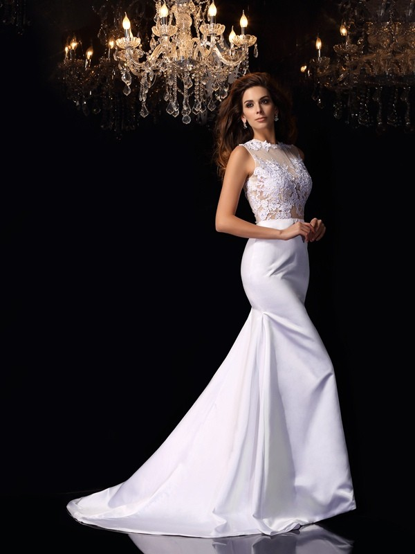 Stylish Trumpet/Mermaid Applique Sleeveless High Neck Long Satin Wedding Dresses