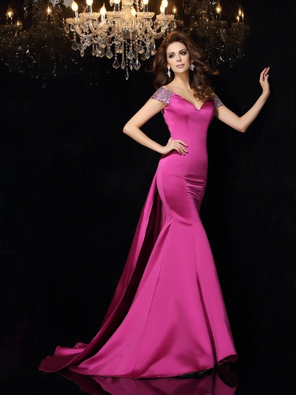 Fashion Trumpet/Mermaid Beading Sleeveless Off-the-Shoulder Long Satin Dresses