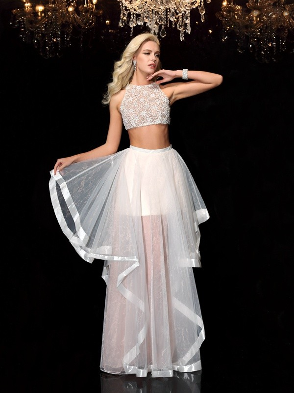 Stylish A-Line/Princess Applique Sleeveless Scoop Long Tulle Two Piece Dresses