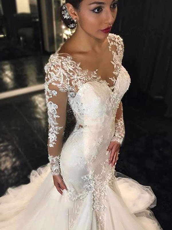 Stylish Trumpet/Mermaid Long Sleeves Lace V-neck Court Train Tulle Wedding Dresses