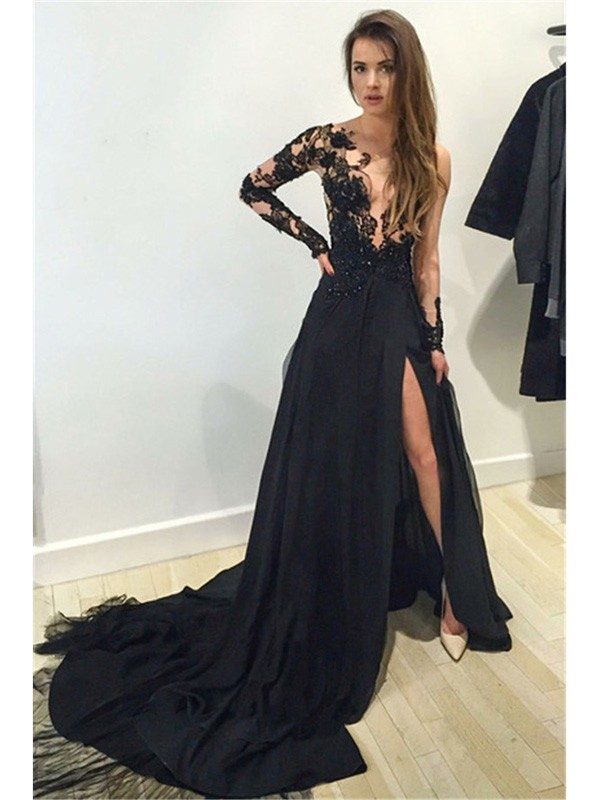Stylish A-Line/Princess Long Sleeves Lace Bateau Chiffon Court Train Dresses