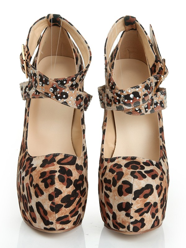 The Most Trendy Women's Suede Stiletto Heel Closed Toe Platform With Leopard Print Platforms Shoes