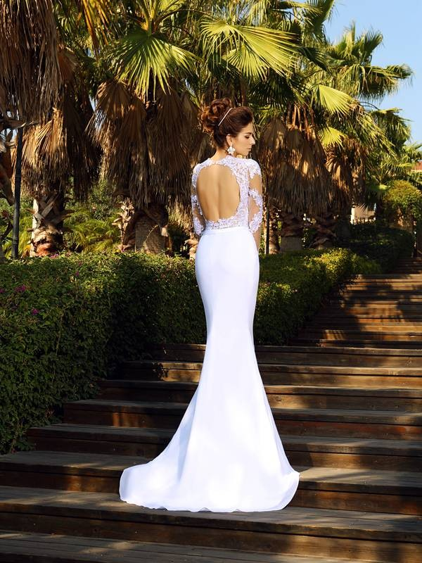 5c4158de0ca Stylish Sheath Column Applique Long Sleeves Scoop Long Satin Wedding Dresses  - FavProm
