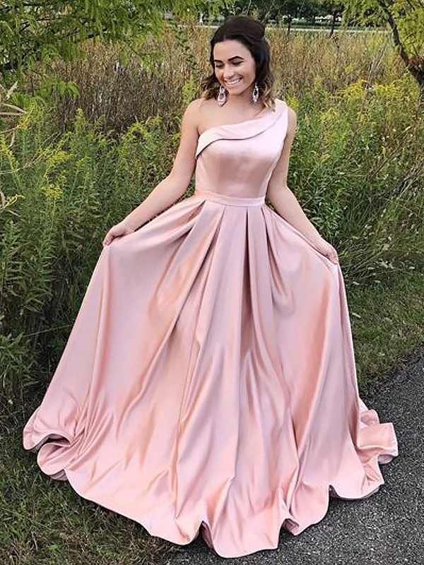 0af83a616e A-Line/Princess One-Shoulder Sleeveless Sweep/Brush Train Ruffles Satin  Dresses