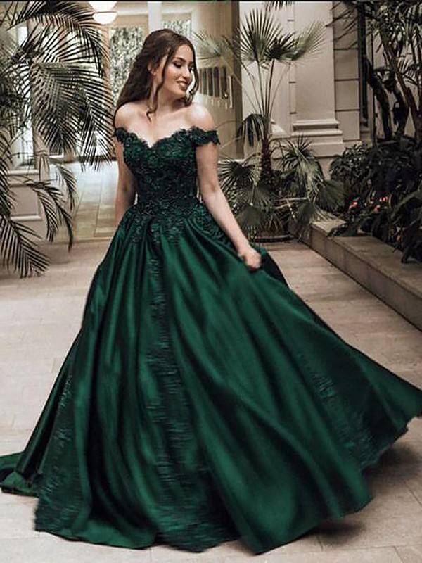 Ball Gown Off-the-Shoulder Sleeveless Floor-Length Lace Satin ...