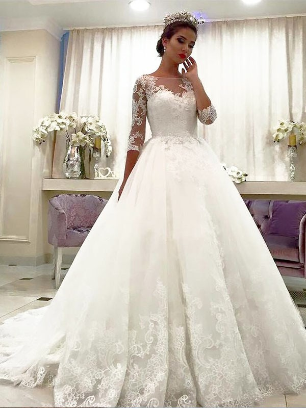 Ball Gown Tulle 3/4 Sleeves Bateau Lace Court Train Wedding Dresses ...