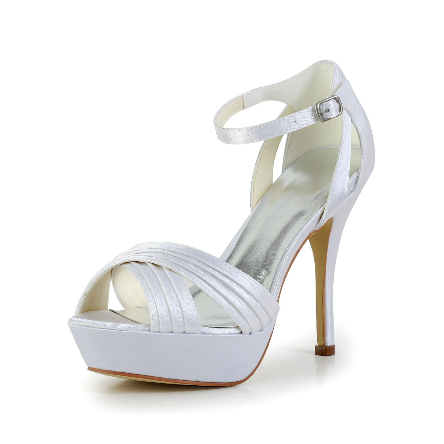 7084a8f53ed9 The Most Stylish Women s Satin Stiletto Heel Peep Toe Platform Sandals  White Wedding Shoes With Buckle