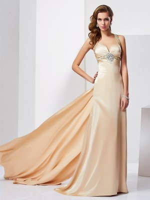 Fashion Sheath/Column Sleeveless Ruffles Halter Long Silk like Satin Dresses
