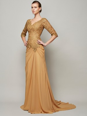 Stylish Sheath/Column 1/2 Sleeves Lace V-neck Long Chiffon Dresses