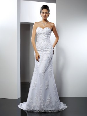 Fashion Trumpet/Mermaid Lace Sleeveless Sweetheart Long Satin Wedding Dresses
