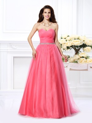 Fashion Ball Gown Pleats Sleeveless Sweetheart Long Satin Quinceanera Dresses