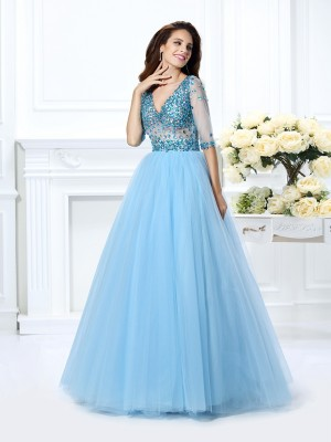 Stylish Ball Gown Beading 1/2 Sleeves V-neck Long Satin Quinceanera Dresses