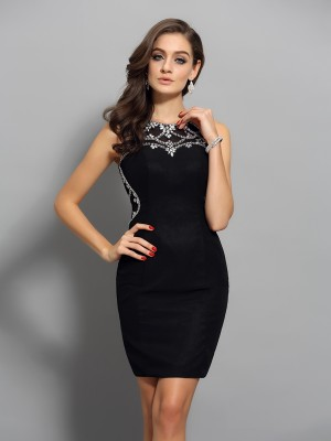 Fashion Sheath/Column Beading Sleeveless Scoop Short Chiffon Cocktail Dresses