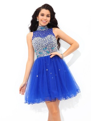 Fashion A-Line/Princess Beading Sleeveless High Neck Short Net Cocktail Dresses