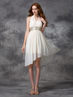 Fashion A-line/Princess Sequin Sleeveless Halter High Low Chiffon Cocktail Dresses
