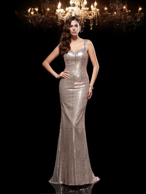 Fashion Sheath/Column Beading Sleeveless Straps Long Sequins Dresses