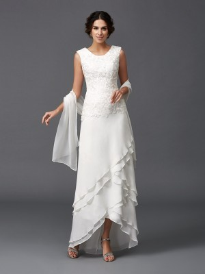 Fashion A-Line/Princess Lace Sleeveless Scoop Long Chiffon Mother of the Bride Dresses