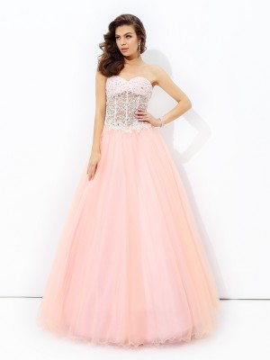 Stylish A-line/Princess Lace Sleeveless Sweetheart Long Net Dresses