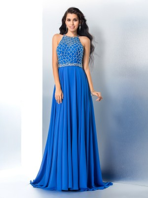 Fashion A-Line/Princess Beading Long Scoop Sleeveless Chiffon Dresses