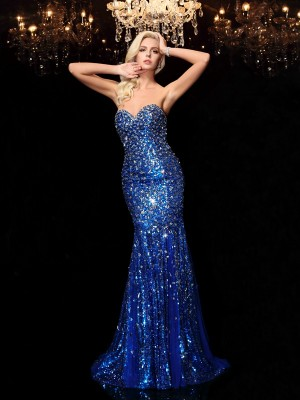 ecf1957c Fashion Trumpet/Mermaid Sequin Sleeveless Sweetheart Long Sequins Dresses