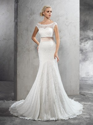 Stylish Sheath/Column Sash/Ribbon/Belt Sleeveless SheerNeck Long Lace Wedding Dresses
