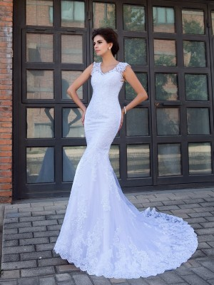 Stylish Trumpet/Mermaid Applique Sleeveless V-neck Long Satin Wedding Dresses