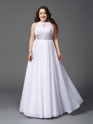 Fashion A-Line/Princess Beading Sleeveless Jewel Long Chiffon Plus Size Dresses