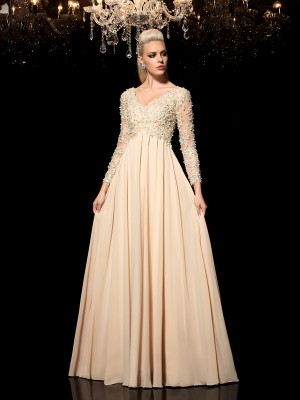 Fashion A-Line/Princess Applique Long Sleeves V-neck Long Chiffon Dresses