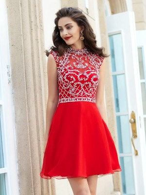 Stylish A-Line/Princess Sleeveless Beading High Neck Short/Mini Chiffon Dresses