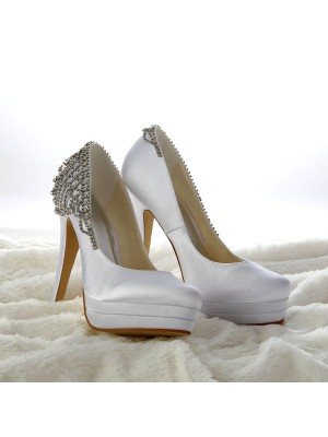 The Most Fashionable Women's Satin Stiletto Heel Closed Toe Platform White Wedding Shoes With Rhinestone