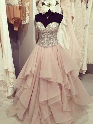 Fashion Ball Gown Sleeveless Floor-Length Sweetheart Beading Chiffon Dresses