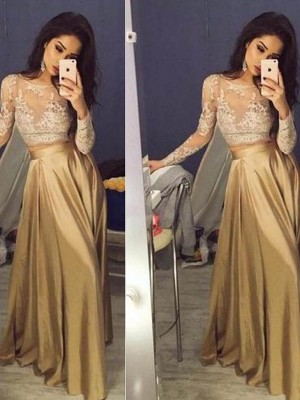Stylish A-Line/Princess Scoop Taffeta Long Sleeves Applique Floor-Length Two Piece Dresses
