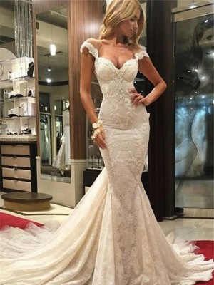 Stylish Trumpet/Mermaid Sweep/Brush Train Sleeveless V-neck Lace Wedding Dresses
