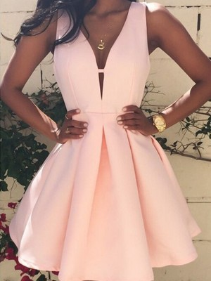 Fashion A-Line/Princess V-neck Short/Mini Sleeveless Satin Dresses