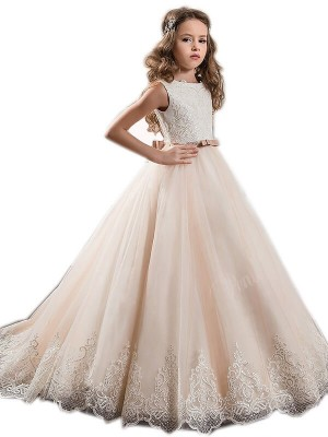 Fashion Ball Gown Floor-Length Lace Sleeveless Jewel Tulle Flower Girl Dresses