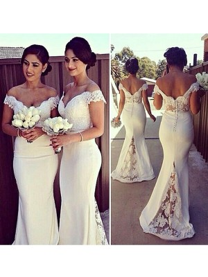 Stylish Trumpet/Mermaid Off-the-Shoulder Lace Sleeveless Satin Sweep/Brush Train Dresses