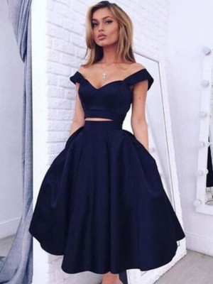 Fashion A-Line/Princess Sleeveless Knee-Length Off-the-Shoulder Taffeta Two Piece Dresses