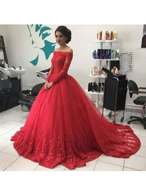 Fashion Ball Gown Long Sleeves Lace Off-the-Shoulder Tulle Court Dresses