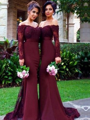 Stylish Trumpet/Mermaid Long Sleeves Satin Off-the-Shoulder Sweep/Brush Train Bridesmaid Dresses