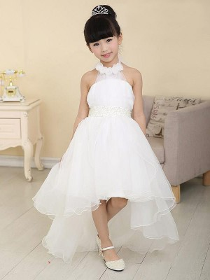 The Most Fashionable A-line/Princess High Neck Sleeveless Beading High Low Organza Flower Girl Dresses