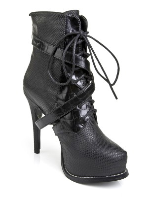 The Most Fashionable Women's Cattlehide Leather Platform Stiletto Heel With Lace-up Black Boots