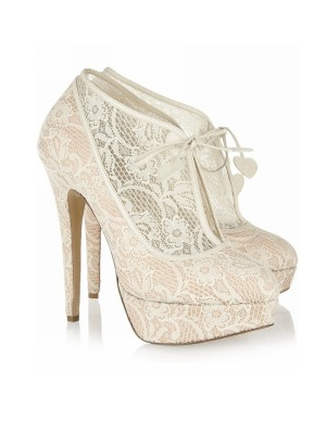 The Most Stylish Women's Lace Stiletto Heel Closed Toe Platform Wedding Champagne Boots