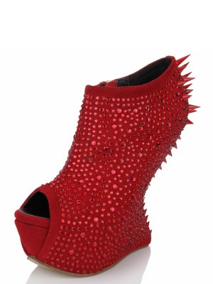 The Most Stylish Women's Peep Toe Wedge Heel Suede Platform With Rhinestone Wedges Shoes