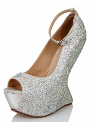 The Most Stylish Women's Wedge Heel Silk Peep Toe With Rhinestone Platform Wedges Shoes
