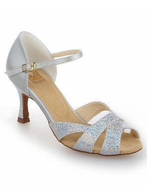 The Most Trendy Women's Satin Stiletto Heel Peep Toe With Sparkling Glitter Dance Shoes