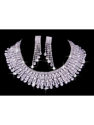 Gorgeous Very Elegant Czech Rhinestones Wedding Necklaces Earrings Set