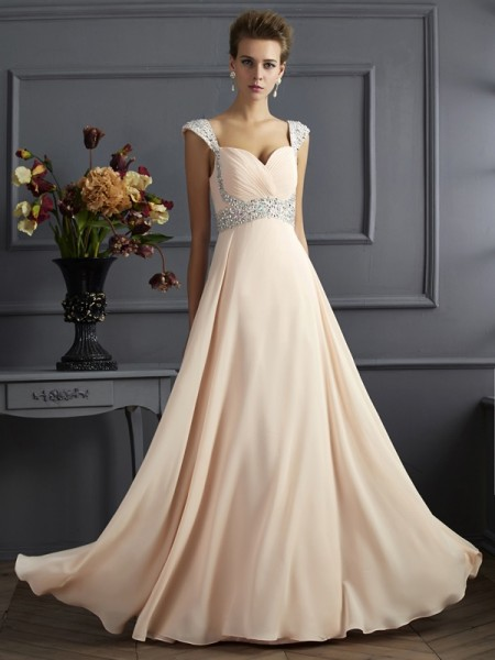 Stylish A-Line/Princess Sleeveless Long Straps Beading Chiffon Dresses