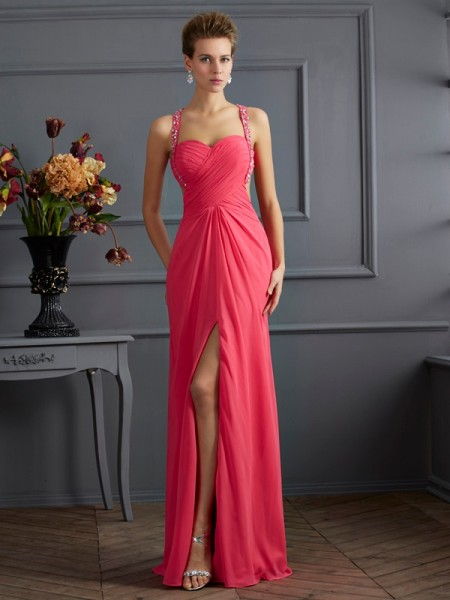Stylish Empire Sleeveless Ruffles Sweetheart Long Chiffon Dresses