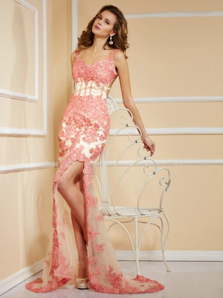 Fashion Sheath/Column Sleeveless Applique Straps Long Net Dresses