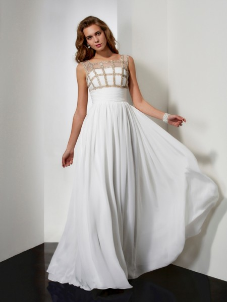 Stylish A-Line/Princess Sleeveless Beading Straps Chiffon Long Dresses
